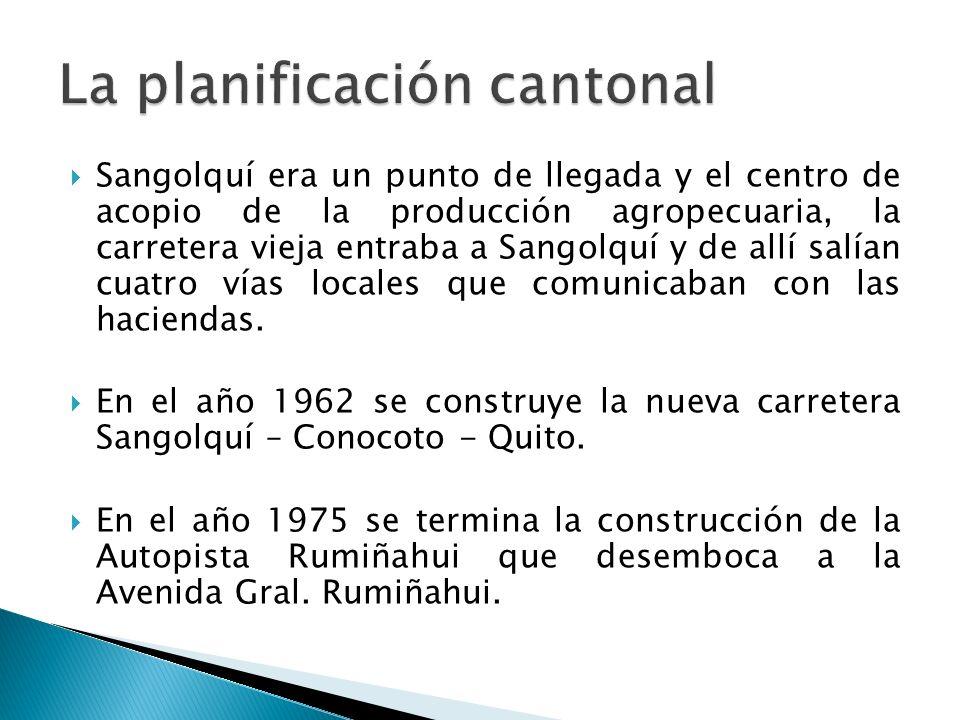 Sangolquí era un punto de llegada y el centro de acopio de la producción agropecuaria, la carretera vieja entraba a Sangolquí y de allí salían cuatro