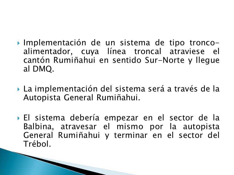Implementación de un sistema de tipo tronco- alimentador, cuya línea troncal atraviese el cantón Rumiñahui en sentido Sur-Norte y llegue al DMQ. La im