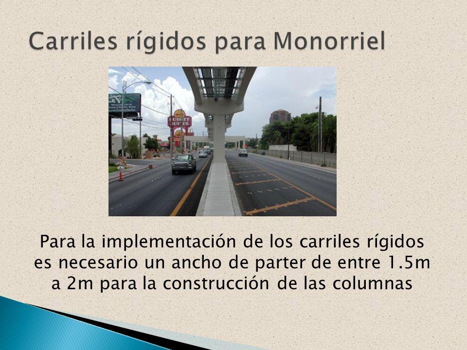 Para la implementación de los carriles rígidos es necesario un ancho de parter de entre 1.5m a 2m para la construcción de las columnas