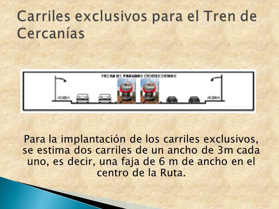 Para la implantación de los carriles exclusivos, se estima dos carriles de un ancho de 3m cada uno, es decir, una faja de 6 m de ancho en el centro de