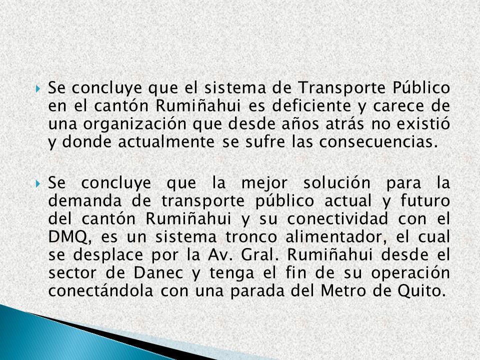 Se concluye que el sistema de Transporte Público en el cantón Rumiñahui es deficiente y carece de una organización que desde años atrás no existió y d