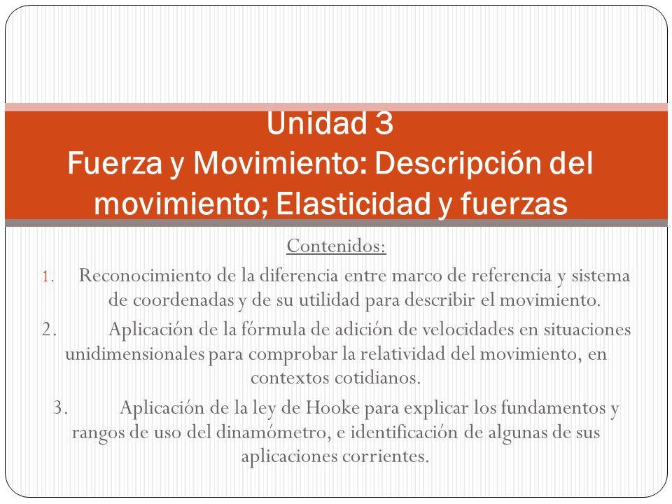 Contenidos: 1. Reconocimiento de la diferencia entre marco de referencia y sistema de coordenadas y de su utilidad para describir el movimiento. 2.Apl