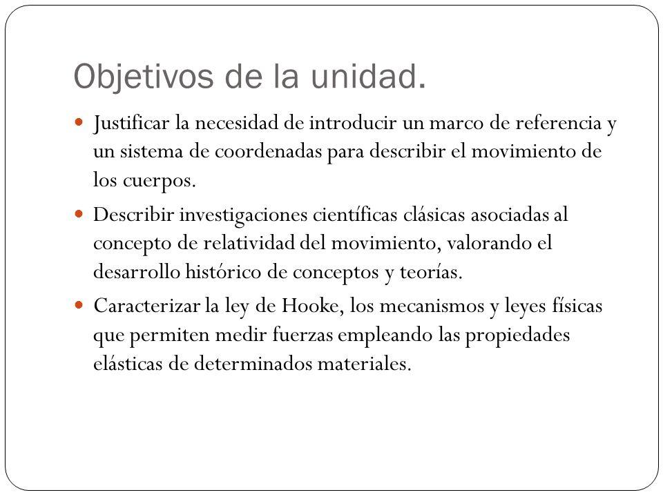 Objetivos de la unidad. Justificar la necesidad de introducir un marco de referencia y un sistema de coordenadas para describir el movimiento de los c