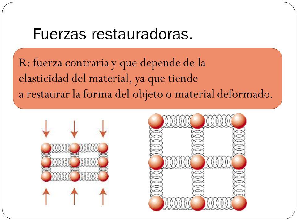 Fuerzas restauradoras. R: fuerza contraria y que depende de la elasticidad del material, ya que tiende a restaurar la forma del objeto o material defo