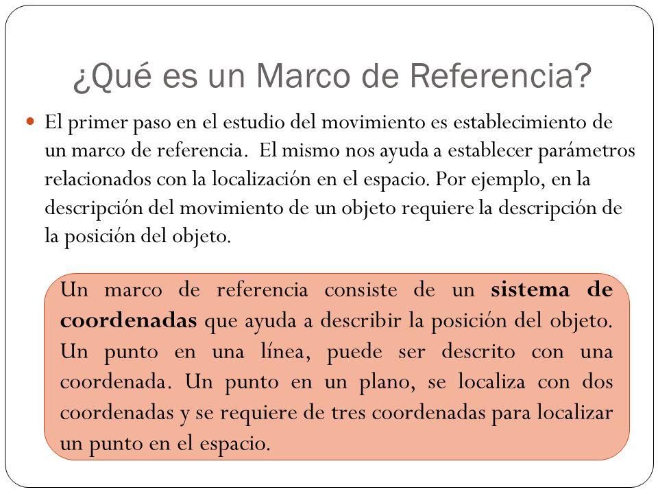 ¿Qué es un Marco de Referencia? El primer paso en el estudio del movimiento es establecimiento de un marco de referencia. El mismo nos ayuda a estable
