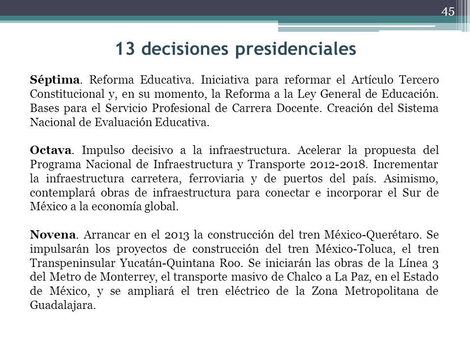 13 decisiones presidenciales Décima.
