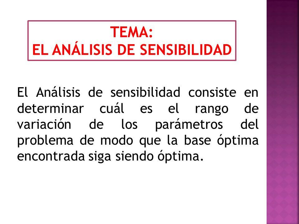 El Análisis de sensibilidad consiste en determinar cuál es el rango de variación de los parámetros del problema de modo que la base óptima encontrada siga siendo óptima.