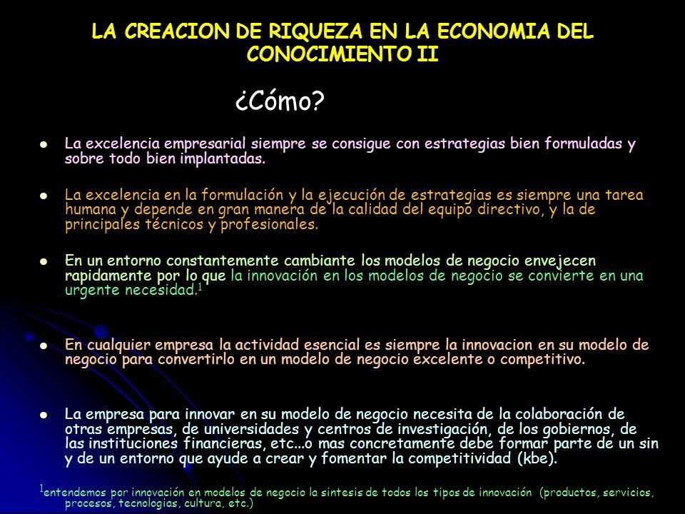 CREACION DE RIQUEZA EN LA ECONOMIA DEL CONOCIMIENTO ¿Quién? La riqueza o pobreza de una nación determinada depende fundamentalmente del numero de empr