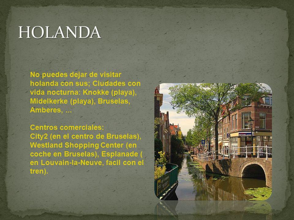 No puedes dejar de visitar holanda con sus; Ciudades con vida nocturna: Knokke (playa), Midelkerke (playa), Bruselas, Amberes,... Centros comerciales: