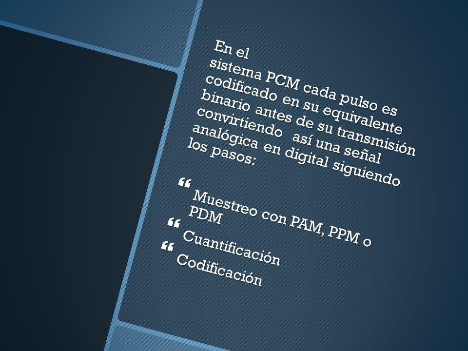 En el sistema PCM cada pulso es codificado en su equivalente binario antes de su transmisión convirtiendo así una señal analógica en digital siguiendo
