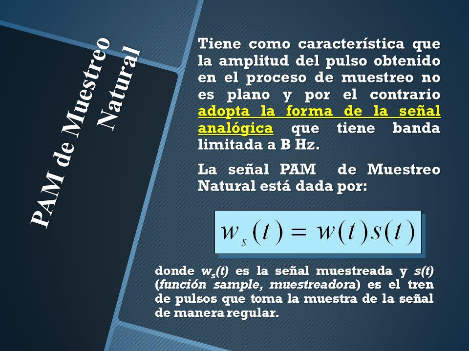 PAM de Muestreo Natural Tiene como característica que la amplitud del pulso obtenido en el proceso de muestreo no es plano y por el contrario adopta l