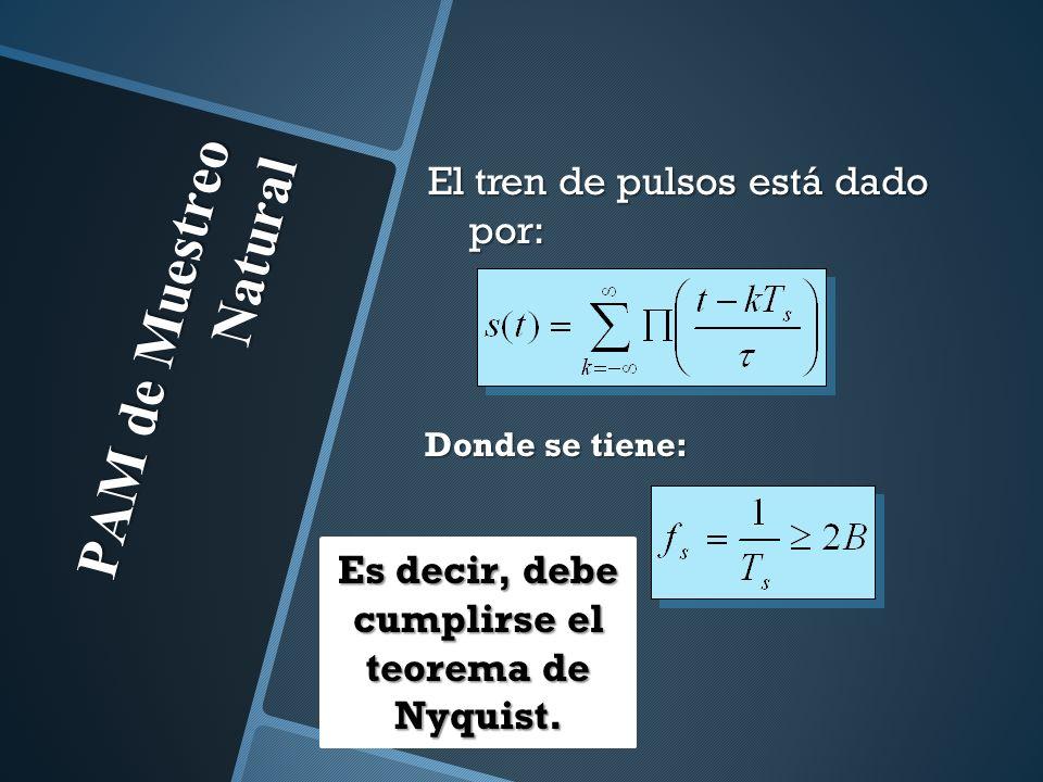 PAM de Muestreo Natural El tren de pulsos está dado por: Donde se tiene: Es decir, debe cumplirse el teorema de Nyquist.