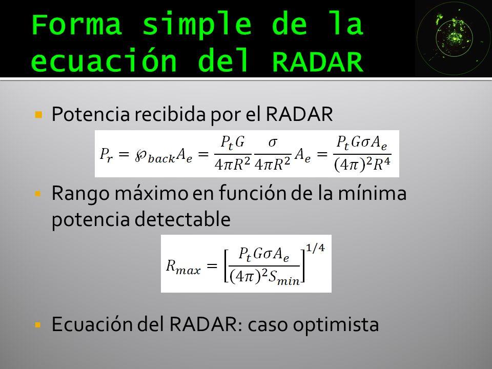 Potencia recibida por el RADAR Rango máximo en función de la mínima potencia detectable Ecuación del RADAR: caso optimista