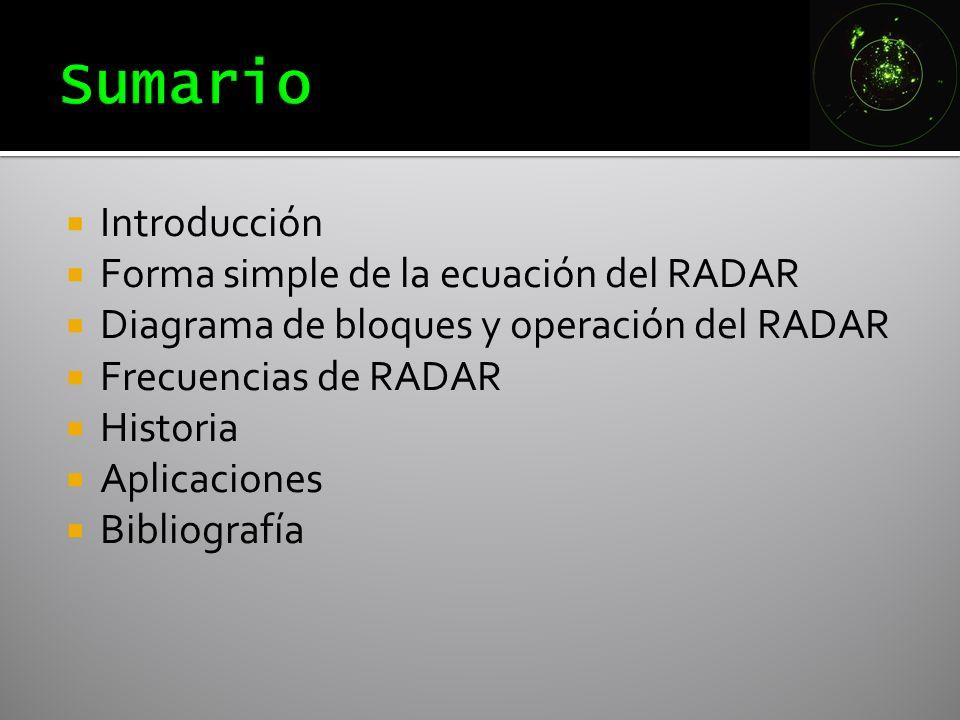 Introducción Forma simple de la ecuación del RADAR Diagrama de bloques y operación del RADAR Frecuencias de RADAR Historia Aplicaciones Bibliografía