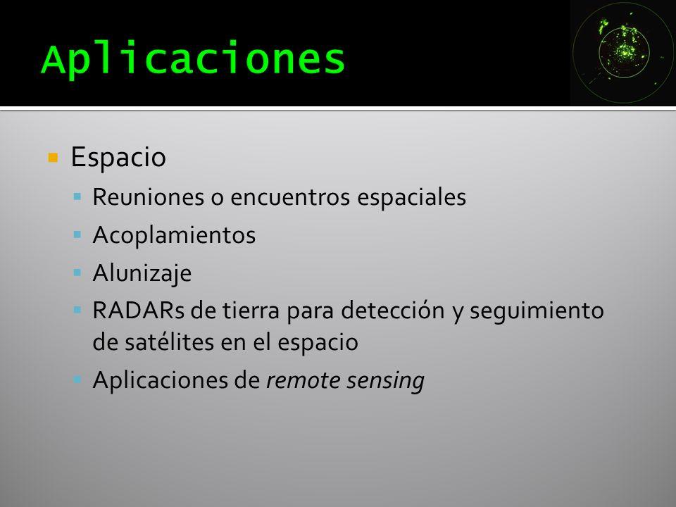 Espacio Reuniones o encuentros espaciales Acoplamientos Alunizaje RADARs de tierra para detección y seguimiento de satélites en el espacio Aplicacione