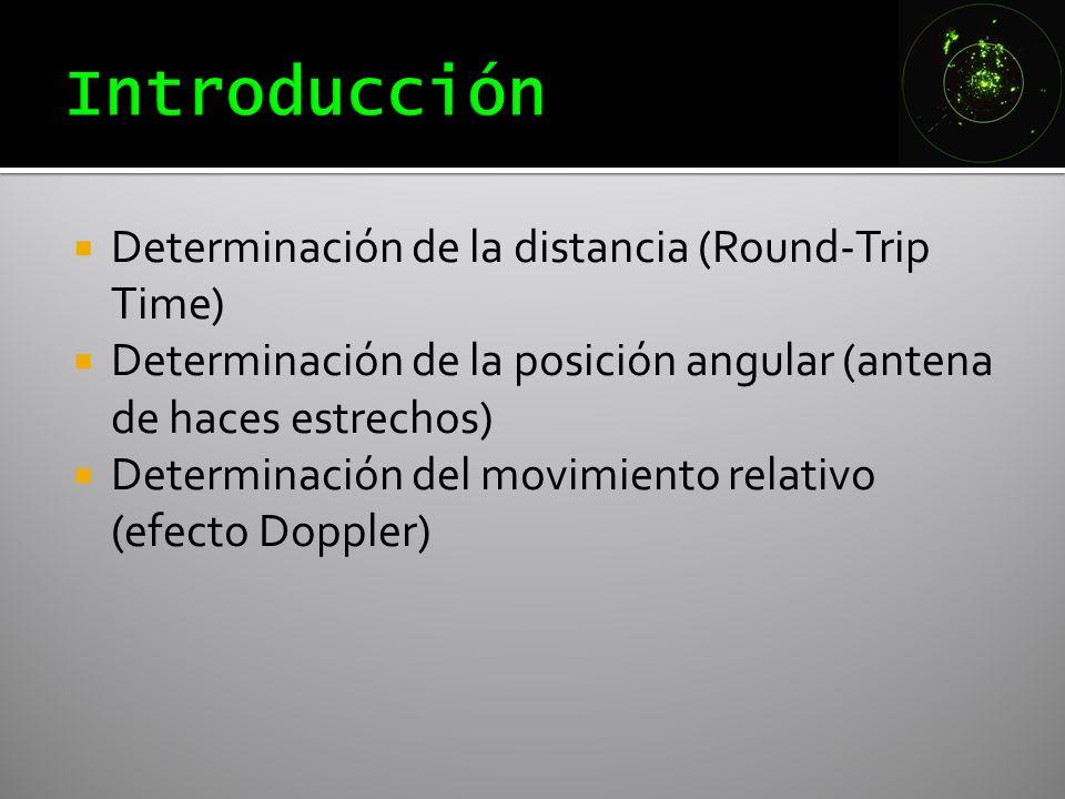 Determinación de la distancia (Round-Trip Time) Determinación de la posición angular (antena de haces estrechos) Determinación del movimiento relativo