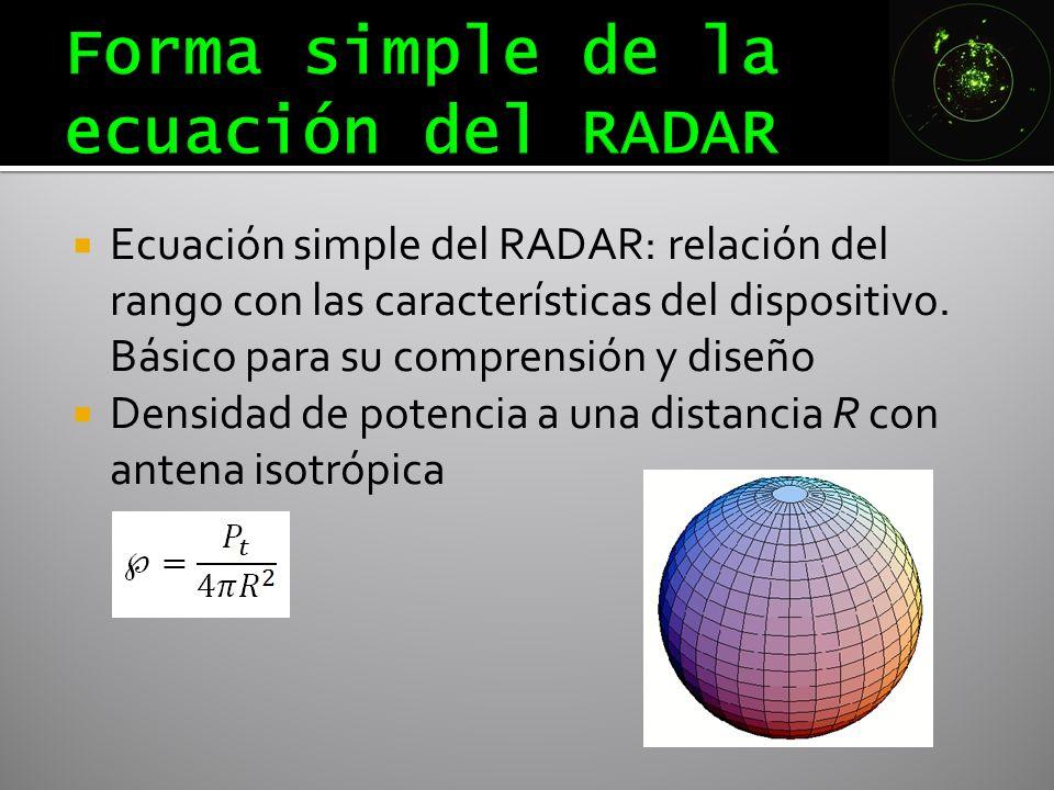 Ecuación simple del RADAR: relación del rango con las características del dispositivo. Básico para su comprensión y diseño Densidad de potencia a una
