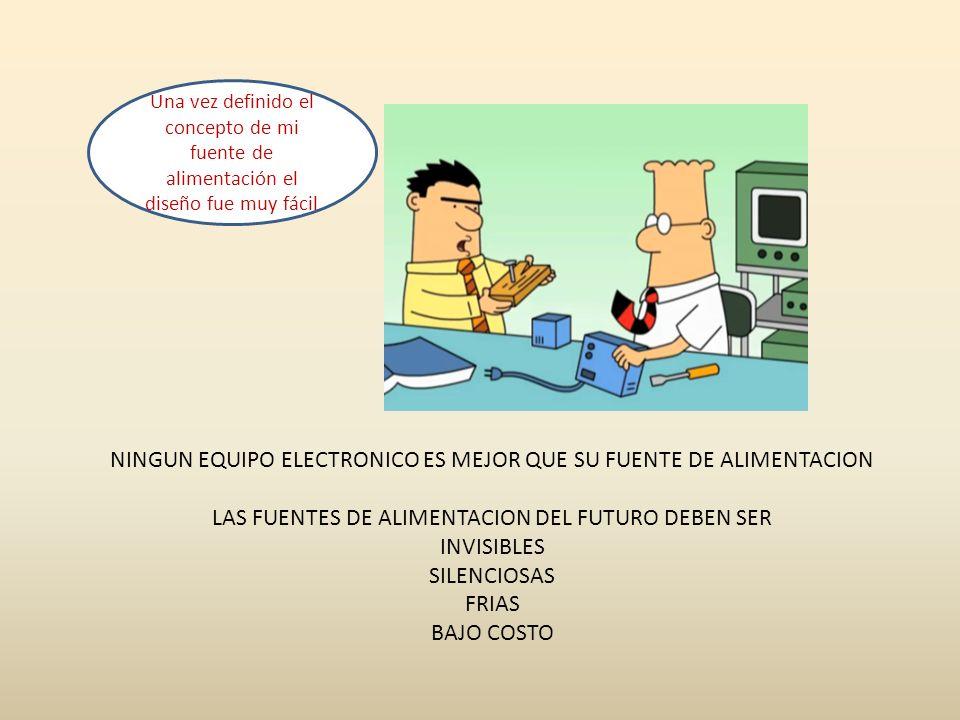NINGUN EQUIPO ELECTRONICO ES MEJOR QUE SU FUENTE DE ALIMENTACION LAS FUENTES DE ALIMENTACION DEL FUTURO DEBEN SER INVISIBLES SILENCIOSAS FRIAS BAJO CO