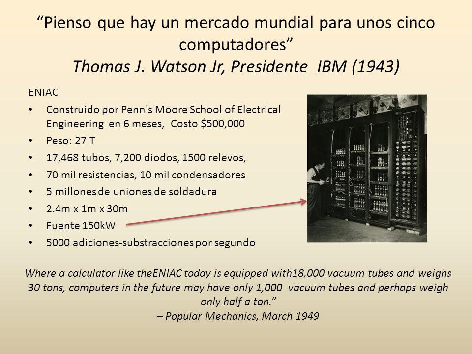 Pienso que hay un mercado mundial para unos cinco computadores Thomas J. Watson Jr, Presidente IBM (1943) ENIAC Construido por Penn's Moore School of