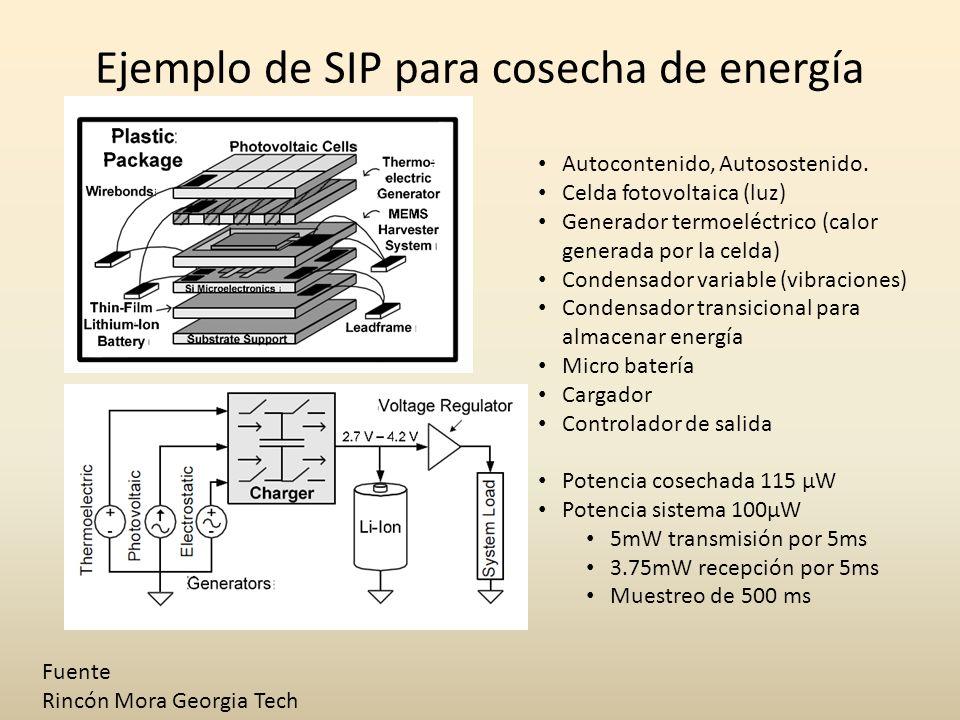 Ejemplo de SIP para cosecha de energía Fuente Rincón Mora Georgia Tech Autocontenido, Autosostenido. Celda fotovoltaica (luz) Generador termoeléctrico