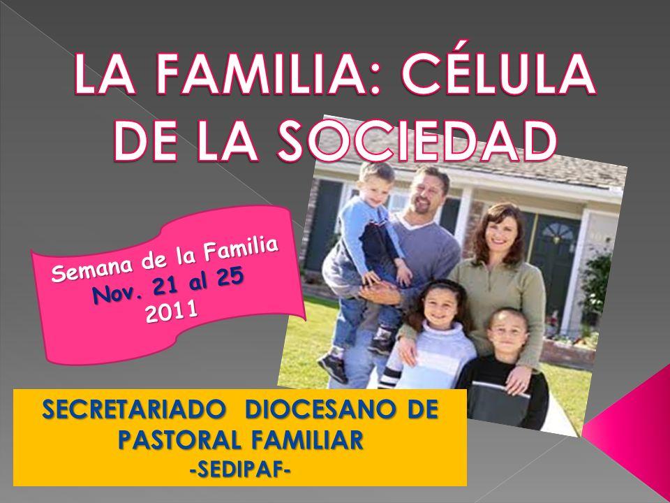SECRETARIADO DIOCESANO DE PASTORAL FAMILIAR -SEDIPAF- Semana de la Familia Nov. 21 al 25 2011