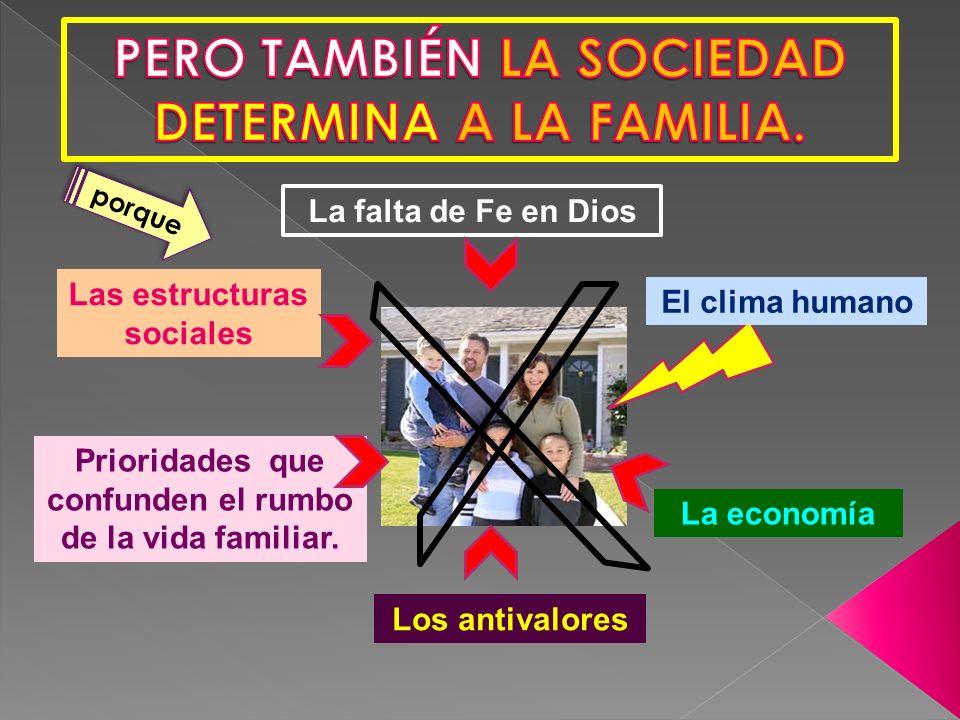 Las estructuras sociales El clima humano Los antivalores La economía La falta de Fe en Dios Prioridades que confunden el rumbo de la vida familiar.