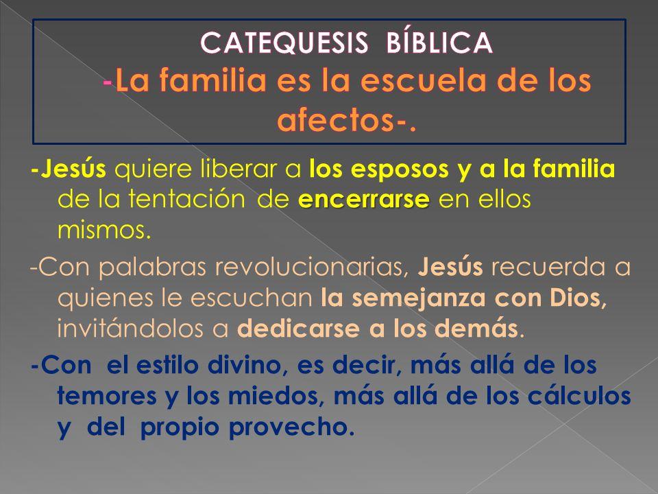 encerrarse -Jesús quiere liberar a los esposos y a la familia de la tentación de encerrarse en ellos mismos. -Con palabras revolucionarias, Jesús recu