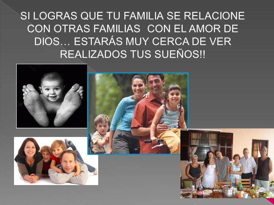 SI LOGRAS QUE TU FAMILIA SE RELACIONE CON OTRAS FAMILIAS CON EL AMOR DE DIOS… ESTARÁS MUY CERCA DE VER REALIZADOS TUS SUEÑOS!!