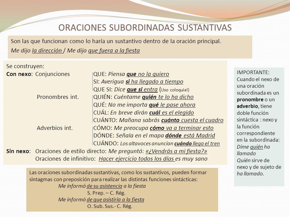 ORACIONES SUBORDINADAS SUSTANTIVAS.