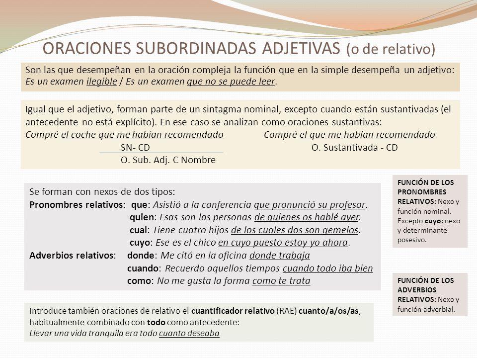 ORACIONES SUBORDINADAS ADJETIVAS.