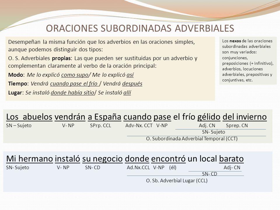 ORACIONES SUBORDINADAS ADVERBIALES (2) O.S.
