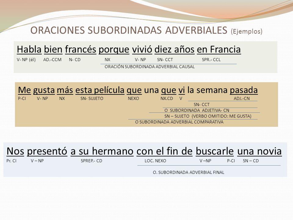 ORACIONES SUBORDINADAS ADVERBIALES (Ejemplos) Habla bien francés porque vivió diez años en Francia V- NP (él) AD.-CCM N- CD NX V- NP SN- CCT SPR.- CCL