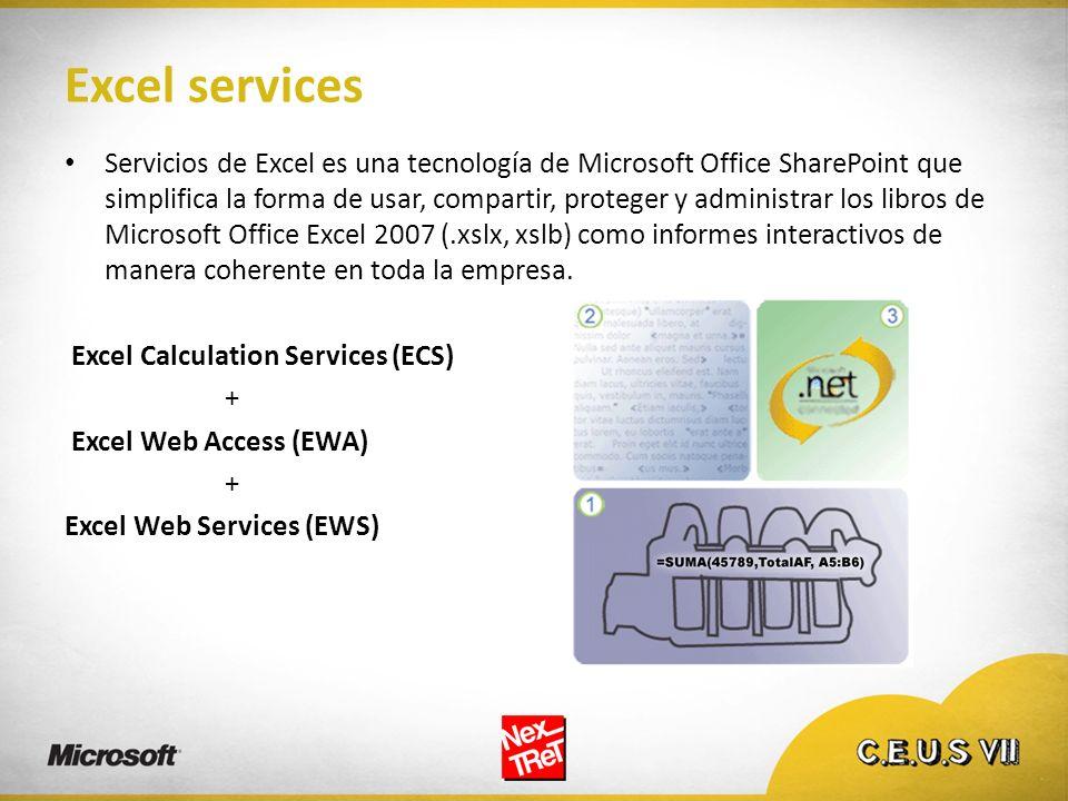 Excel services Servicios de Excel es una tecnología de Microsoft Office SharePoint que simplifica la forma de usar, compartir, proteger y administrar