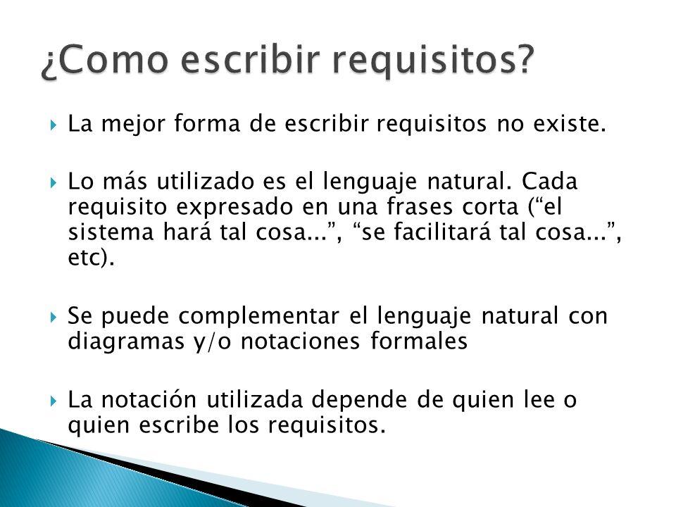 La mejor forma de escribir requisitos no existe. Lo más utilizado es el lenguaje natural.
