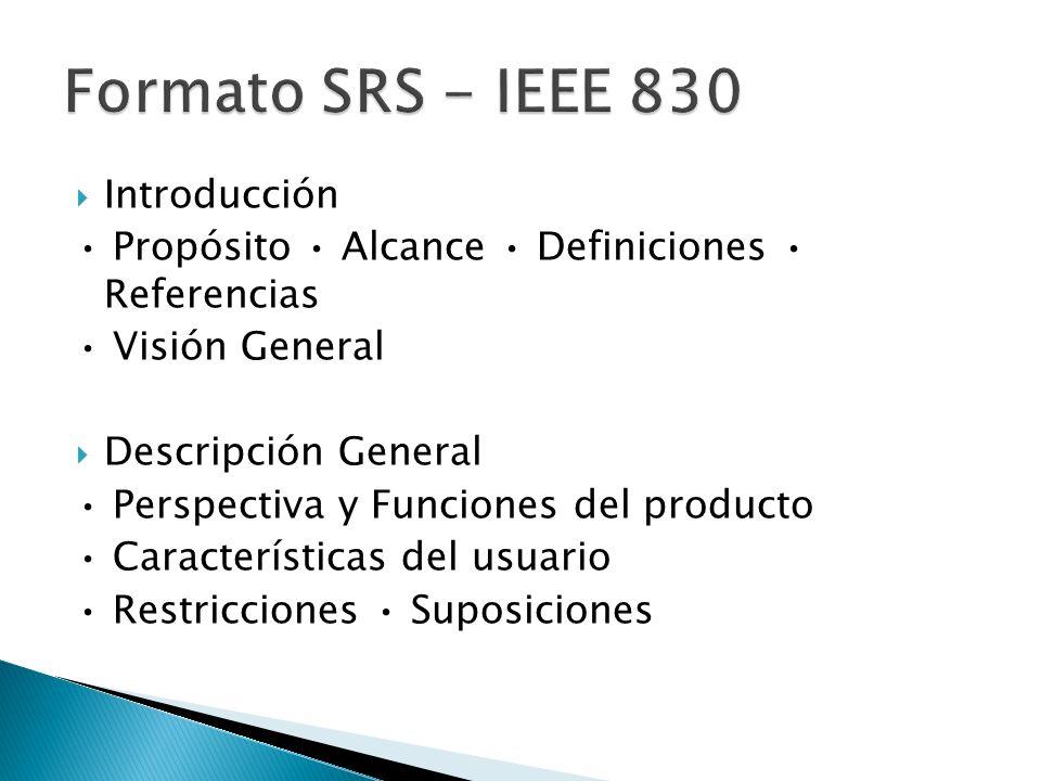 Introducción Propósito Alcance Definiciones Referencias Visión General Descripción General Perspectiva y Funciones del producto Características del usuario Restricciones Suposiciones