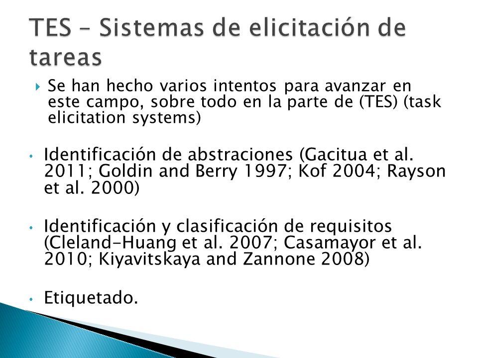 Se han hecho varios intentos para avanzar en este campo, sobre todo en la parte de (TES) (task elicitation systems) Identificación de abstraciones (Gacitua et al.