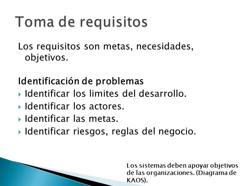 Los requisitos son metas, necesidades, objetivos.