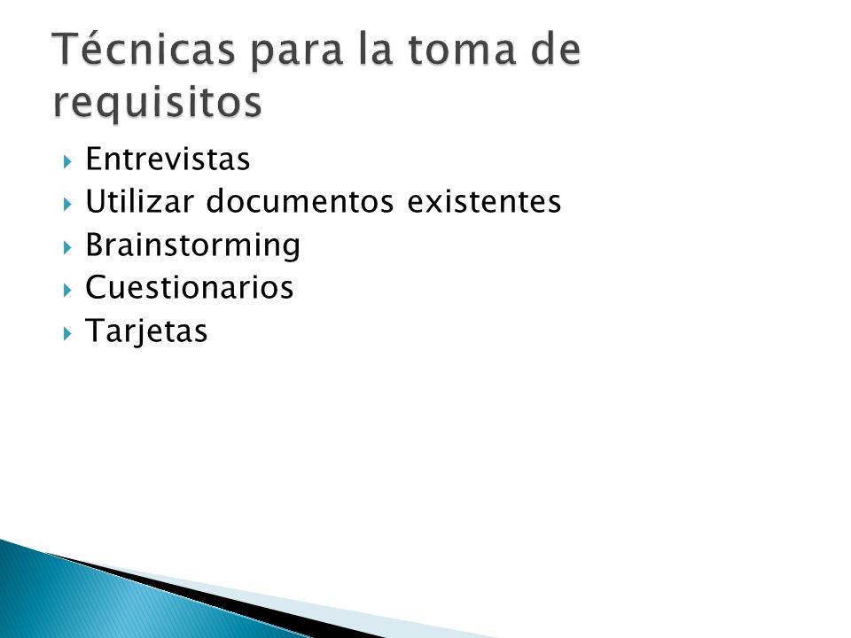 Entrevistas Utilizar documentos existentes Brainstorming Cuestionarios Tarjetas