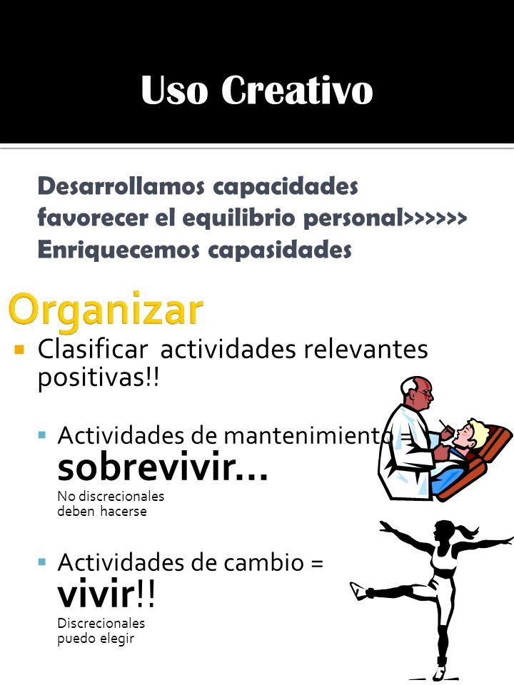 Uso Creativo Desarrollamos capacidades favorecer el equilibrio personal>>>>>> Enriquecemos capasidades Clasificar actividades relevantes positivas!! A