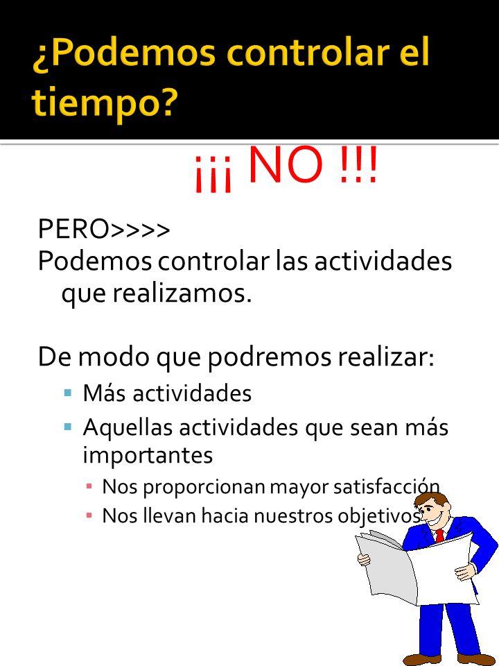 PERO>>>> Podemos controlar las actividades que realizamos. De modo que podremos realizar: Más actividades Aquellas actividades que sean más importante