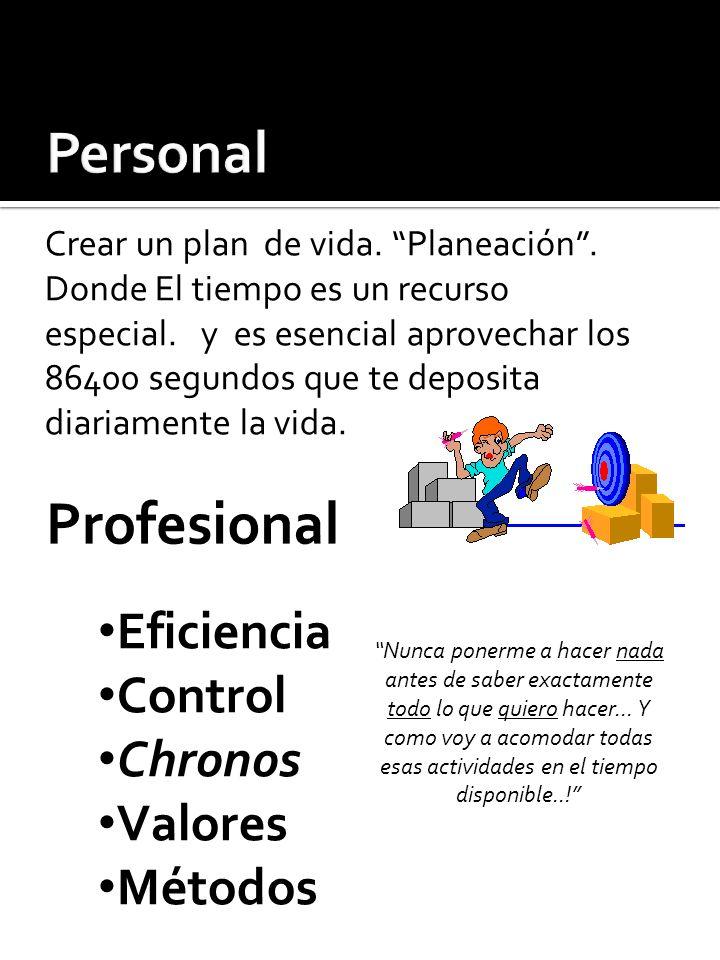 Eficiencia Control Chronos Valores Métodos Crear un plan de vida. Planeación. Donde El tiempo es un recurso especial. y es esencial aprovechar los 864