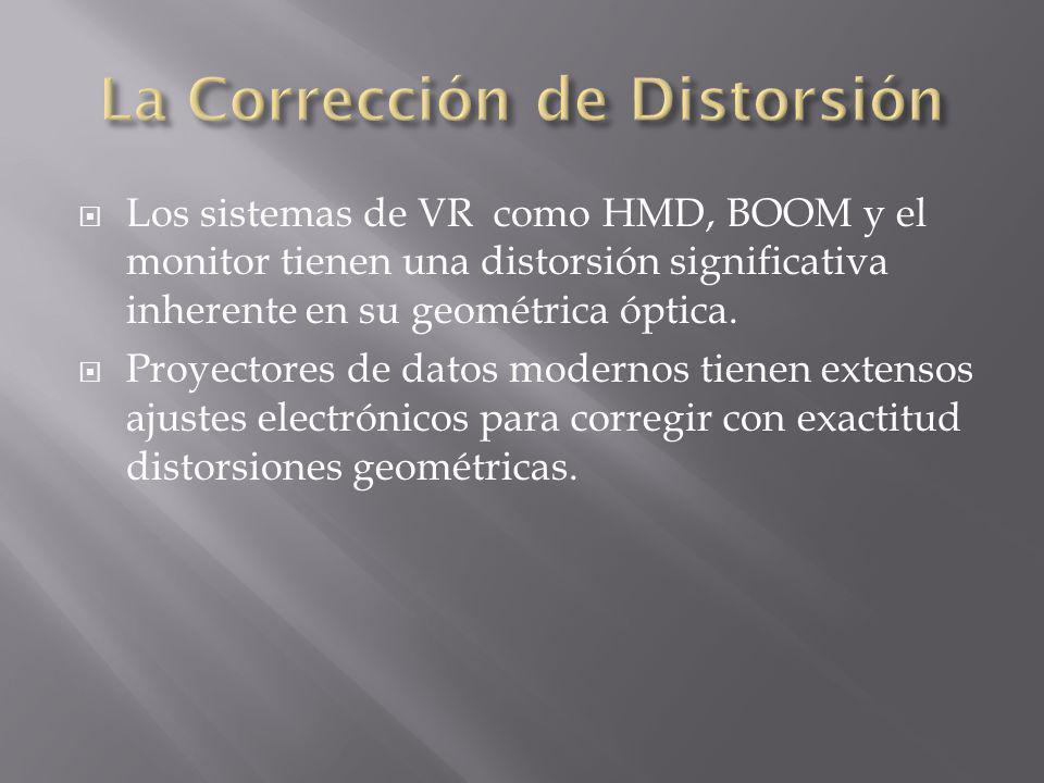 Los sistemas de VR como HMD, BOOM y el monitor tienen una distorsión significativa inherente en su geométrica óptica. Proyectores de datos modernos ti