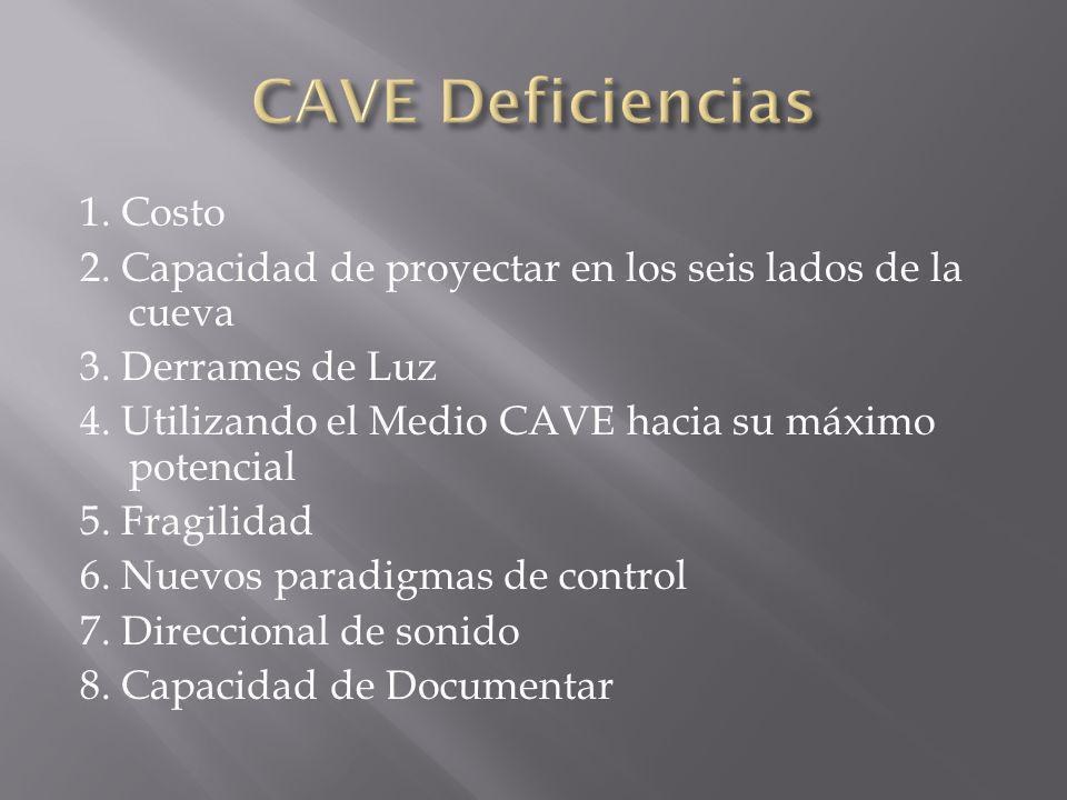 1. Costo 2. Capacidad de proyectar en los seis lados de la cueva 3. Derrames de Luz 4. Utilizando el Medio CAVE hacia su máximo potencial 5. Fragilida
