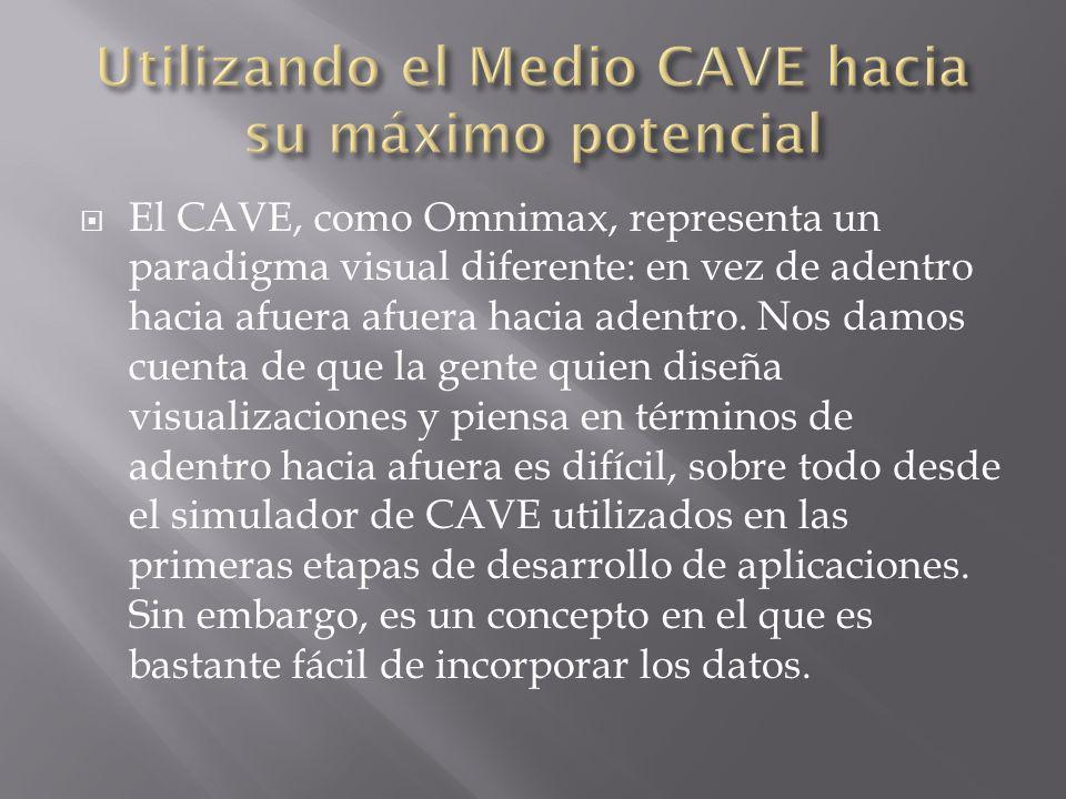 El CAVE, como Omnimax, representa un paradigma visual diferente: en vez de adentro hacia afuera afuera hacia adentro. Nos damos cuenta de que la gente