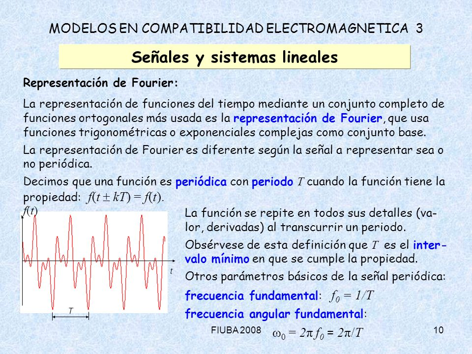 FIUBA 200810 MODELOS EN COMPATIBILIDAD ELECTROMAGNETICA 3 Señales y sistemas lineales Representación de Fourier: La representación de funciones del ti