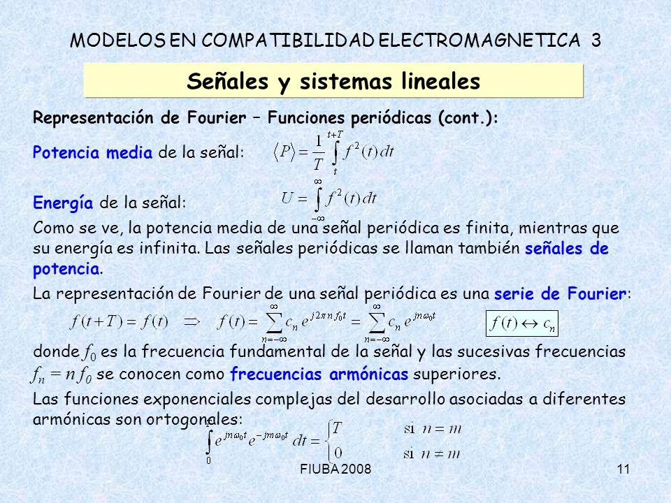 FIUBA 200811 MODELOS EN COMPATIBILIDAD ELECTROMAGNETICA 3 Señales y sistemas lineales Representación de Fourier – Funciones periódicas (cont.): Potenc