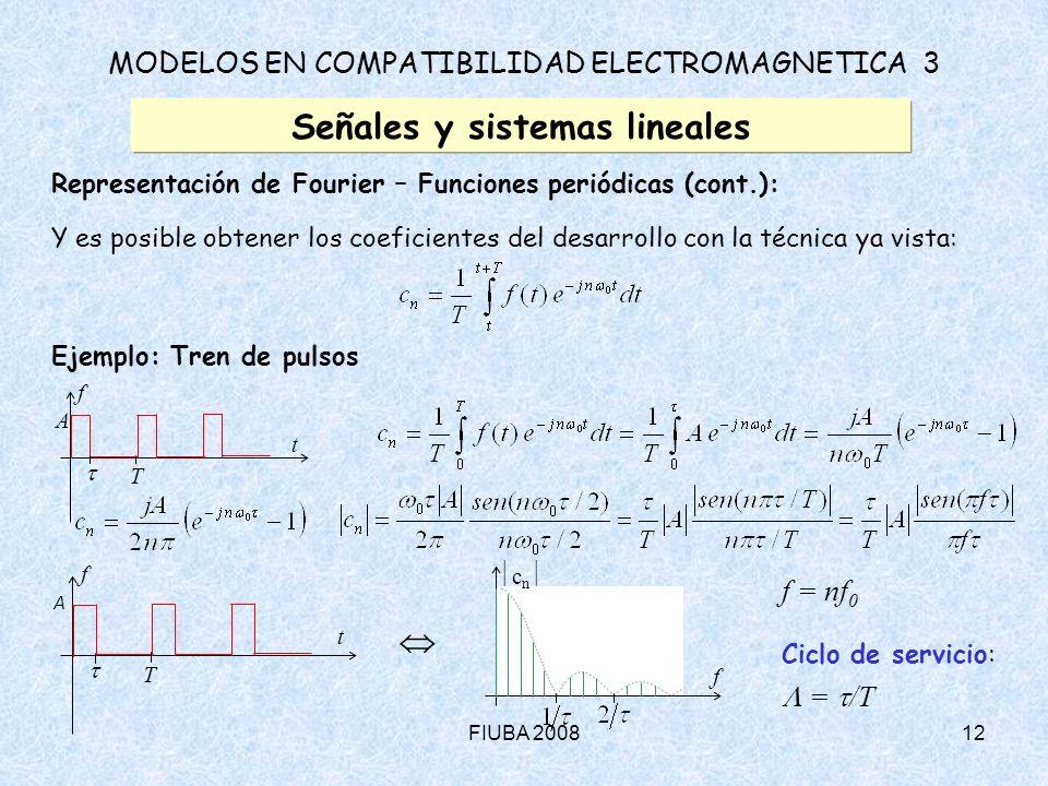 FIUBA 200812 MODELOS EN COMPATIBILIDAD ELECTROMAGNETICA 3 Señales y sistemas lineales Representación de Fourier – Funciones periódicas (cont.): Y es p