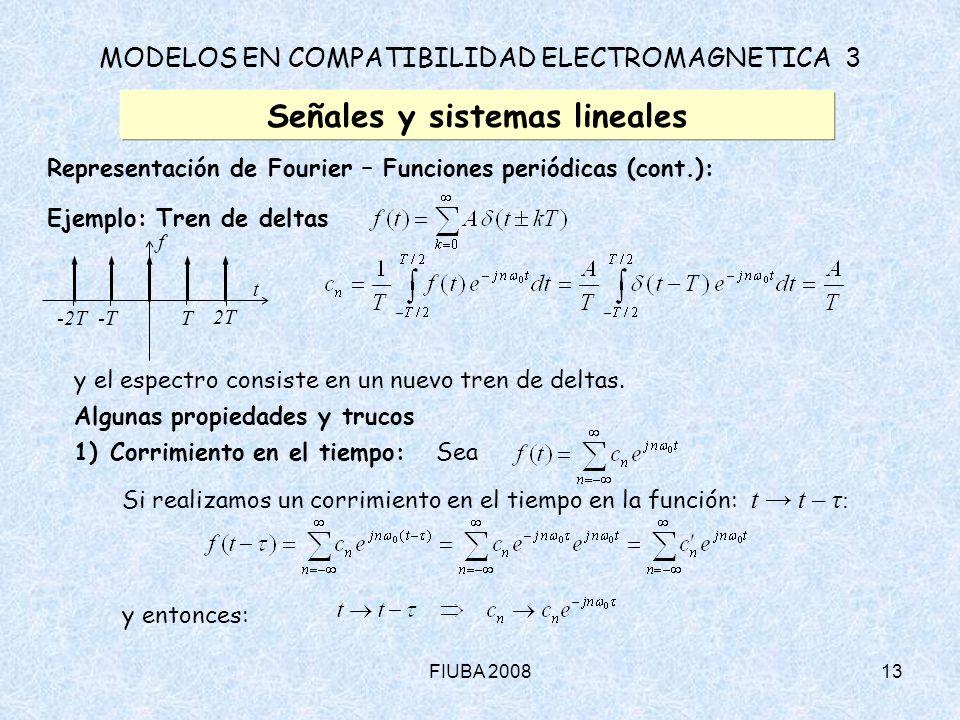 FIUBA 200813 MODELOS EN COMPATIBILIDAD ELECTROMAGNETICA 3 Señales y sistemas lineales Representación de Fourier – Funciones periódicas (cont.): Ejempl