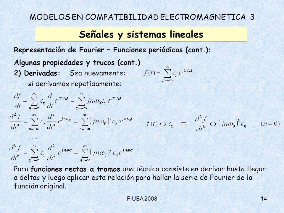 FIUBA 200814 MODELOS EN COMPATIBILIDAD ELECTROMAGNETICA 3 Señales y sistemas lineales Representación de Fourier – Funciones periódicas (cont.): Alguna
