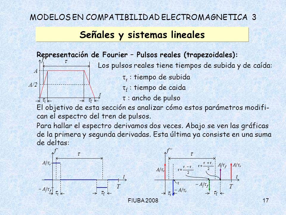 FIUBA 200817 MODELOS EN COMPATIBILIDAD ELECTROMAGNETICA 3 Señales y sistemas lineales Representación de Fourier – Pulsos reales (trapezoidales): Los p